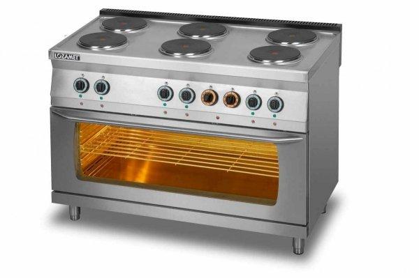 Kuchnia elektryczna 6-płytowa z piekarnikiem elektrycznym 3xGN 1/1 L700.KEO6 PE max Lozamet