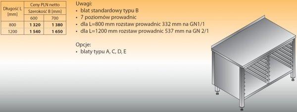 Stół z prowadnicami na pojemniki gn lo 112 1200/600
