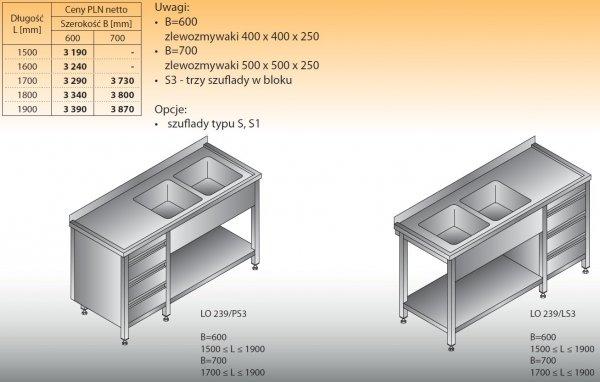Stół zlewozmywakowy 2-zbiornikowy lo 239/s3 - 1500x600