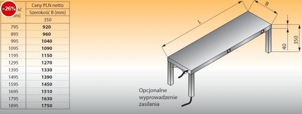 Nadstawka niska z panelem grzewczym lo 712 - 1295x350