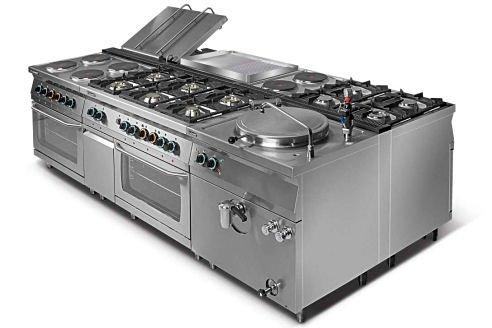 Kuchnia gazowa 6-palnikowa z piekarnikiem gazowym GN2/1 i szafką L700.KG6 PG+SD Lozamet