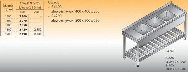 Stół zlewozmywakowy 3-zbiornikowy lo 263 - 1500x600