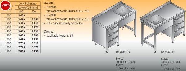 Stół zlewozmywakowy 1-zbiornikowy lo 208/s3 - 1000x600