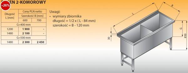 Basen 2-komorowy lo 402 - 1200x600 g400