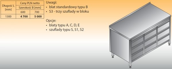 Stół roboczy z trzema blokami szuflad lo 133/s3 - 1300x600