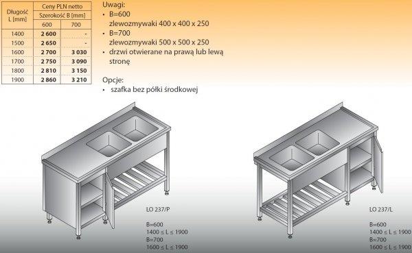 Stół zlewozmywakowy 2-zbiornikowy lo 237 - 1400x600