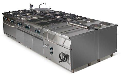 Kuchnia elektryczna 4-płytowa z piekarnikiem elektrycznym z termoobiegiem GN2/1 L900.KEO4 PET Lozamet