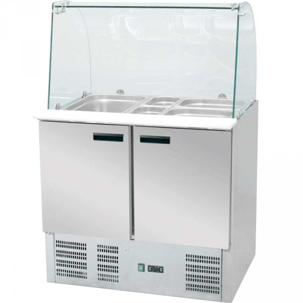 stół chłodniczy 2 drzwiowy sałatkowy z nadstawą szklaną