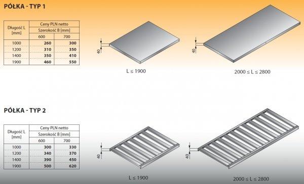 Półka - typ 1 1400/600