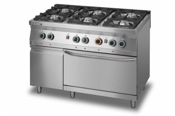 Kuchnia gazowa 6-palnikowa z piekarnikiem gazowym GN2/1 i szafką L900.KG6 PG+SD Lozamet