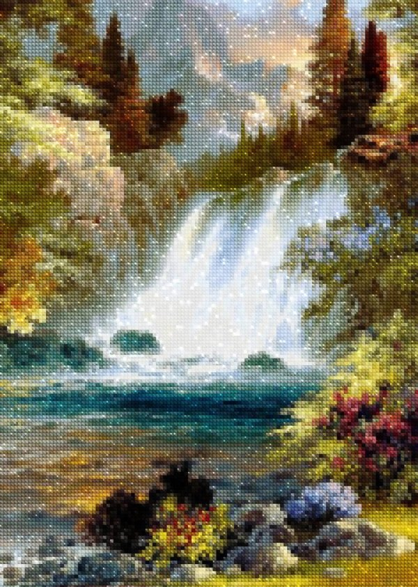 Haft Diamentowy Leśny Wodospad 45x55 cm K