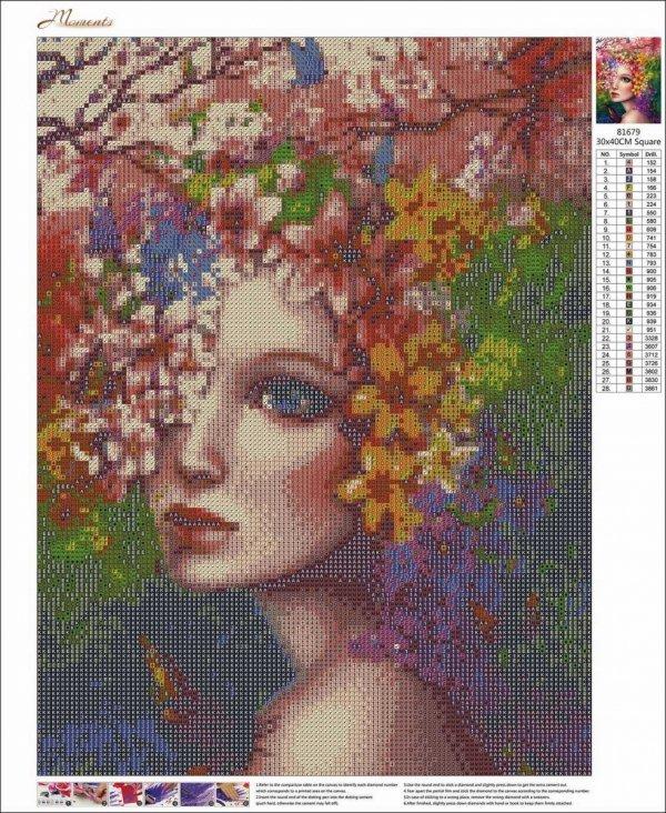 Haft Diamentowy Wiosenna Kobieta 35x45 cm K