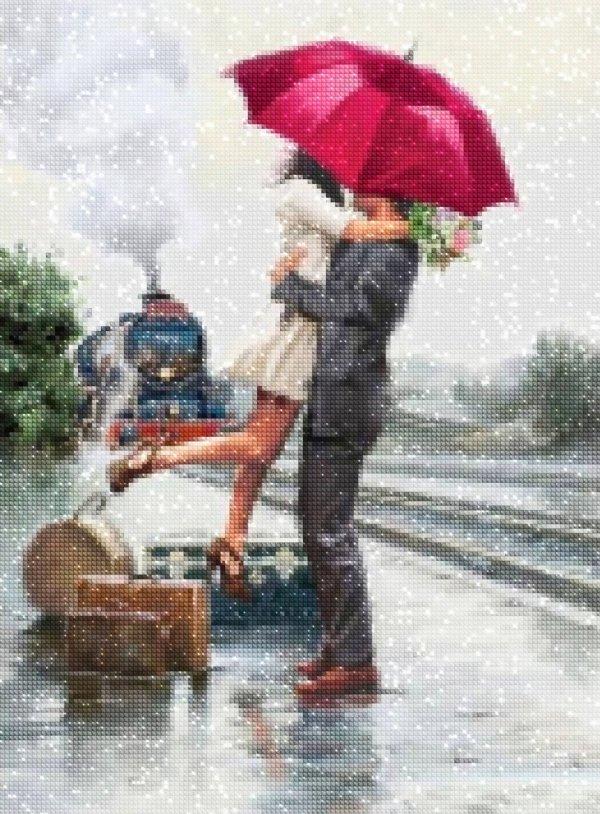 Haft Diamentowy Zakochana Para Dworzec 45x60 cm K