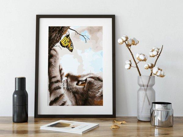 Haft Diamentowy Kotek z Motylkiem 35x45 cm K