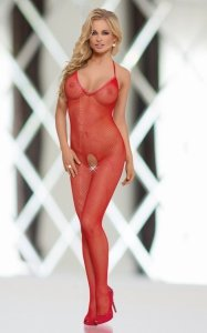 Bodystocking Fishnet Red Catsuit roz. S-L