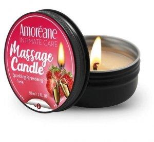 Amoreane świeczka olejek do masażu o zapachu truskawek z winem musującym 30ml