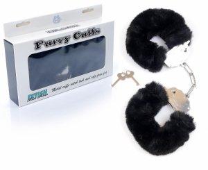 Furry Cuffs solidne kajdanki z grubym czarnym futerkiem