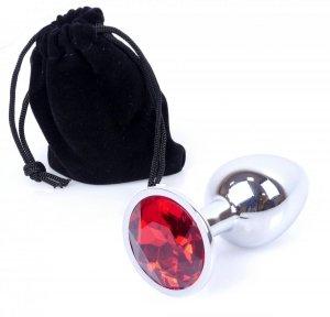 Metal Silver klasyczna mała wtyczka analna z czerwonym kryształkiem