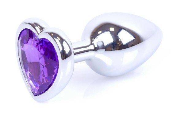 Metal Silver klasyczna mała wtyczka analna z kryształkiem serce
