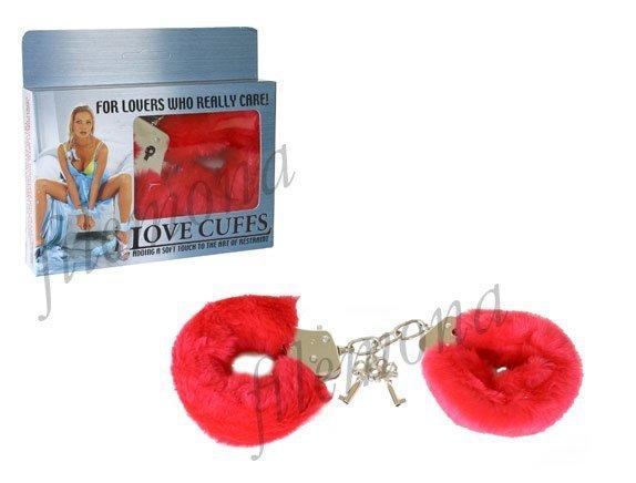 Czerwone solidne kajdanki z grubym futerkiem