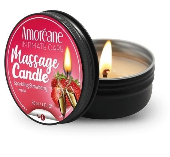 Amoreane świeczka olejek do masażu o zapachu truskawek z winem musującym