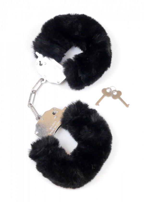 Furry Cuffs solidne kajdanki z grubym czarnym futerkiem z boku