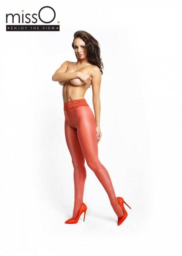 MissO czerwone rajstopy z koronkowym pasem i otworkiem w kroku roz.L/XL - przód