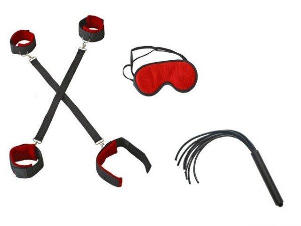 Dark Horn MuragoX Whip+ zestaw do krępowania rąk i nóg wraz z pejczem i opaską na oczy