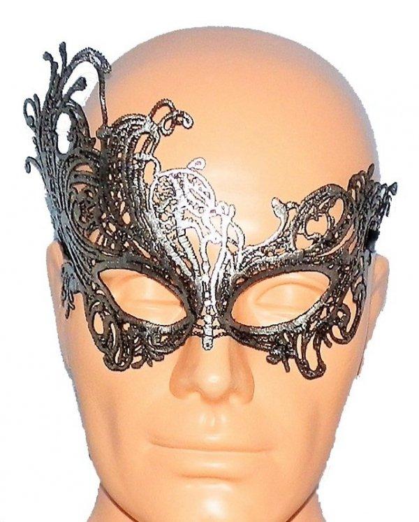 Koronkowa srebrna opaska - maska na oczy
