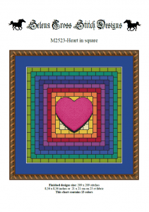 Wzór do haftu M2523 - Heart in square - kolorowe