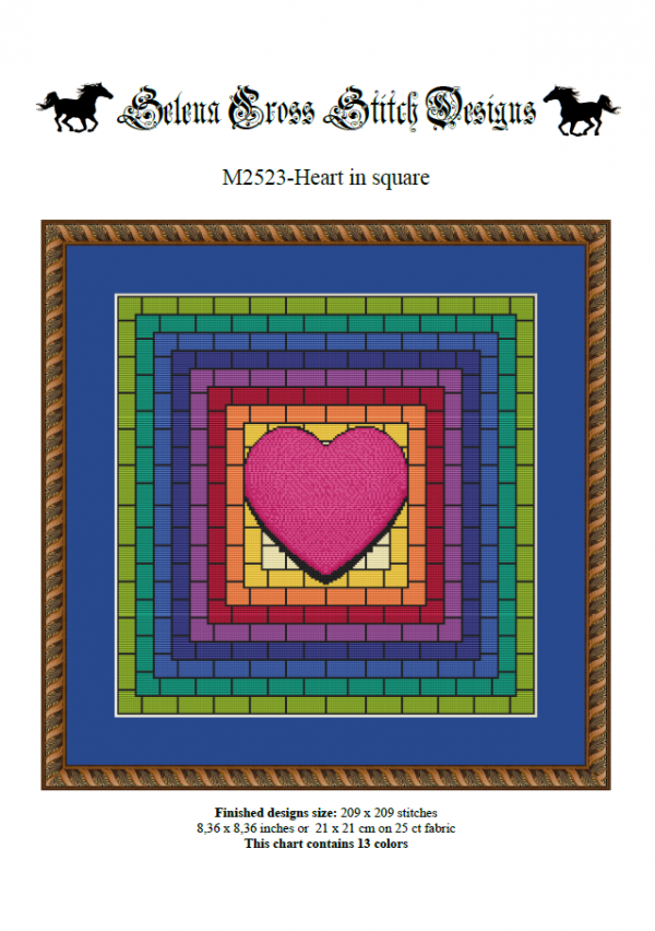 Wzór do haftu M2523 - Heart in square - kolorowe