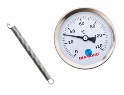 Termometr ŚR 63 MM 0-120 C, tył - sprężyna