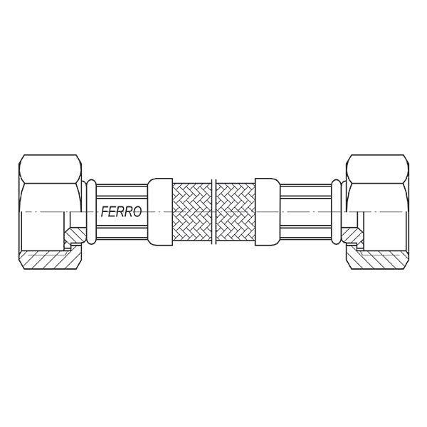 Ferro Wąż w oplocie 3/8 L 50cm nakrętno-nakrętny