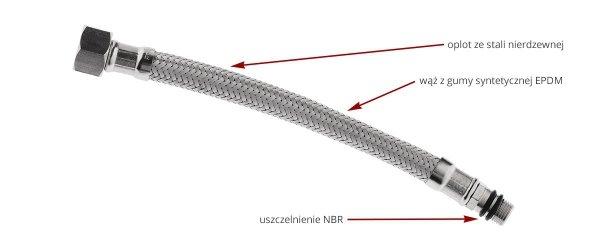 Ferro Wąż w oplocie ze stali 1/2 L100 nakrętno-nakrętny