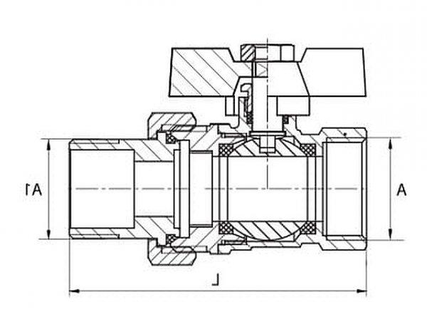 Zawór kulowy ze śrubunkiem z dławicą 1cal