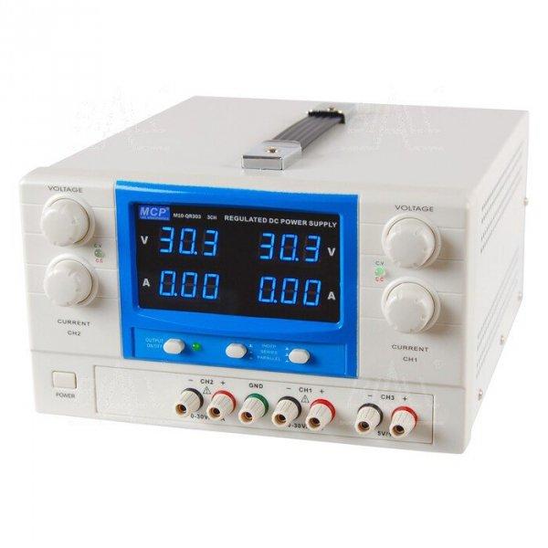 Zasilacz lab QR303 DC 2x30V/3A 5V/1A do pracy ciągłej MCP