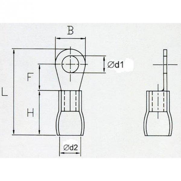 OKY8 Końcówka oczkowa izol. M8 100szt