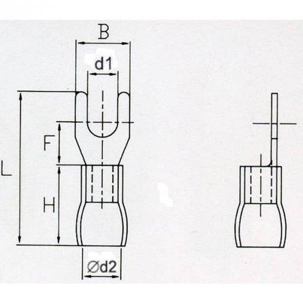 KWB4S/6,4 Końcówka widełkowa izol. M4 100szt