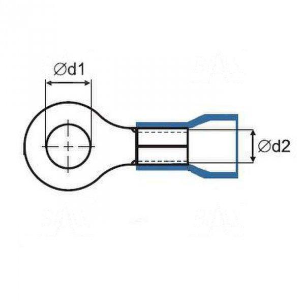 ZKO-25mm2/8.5 BK Końcówka oczkowa złocona M8