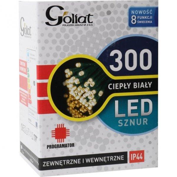 LAMPKI CHOINKOWE 300 LED CIEPŁY BIAŁE + PROGRAMATOR