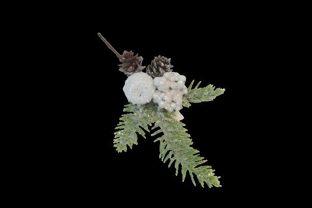 Gałązka dekoracyjna z szyszką i białymi owocami z brokatowym pyłem 27 cm