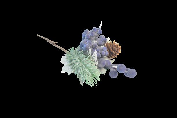Gałązka dekoracyjna iglasta z szyszka jagodami 23 cm - BXT260
