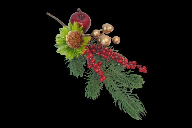 Gałązka dekoracyjna iglasta z czerwonymi owocami DE LUX  cm - BXT240
