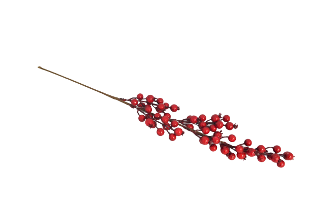 Gałązka dekoracyjna z czerwonymi owocami 65 cm - BXT90