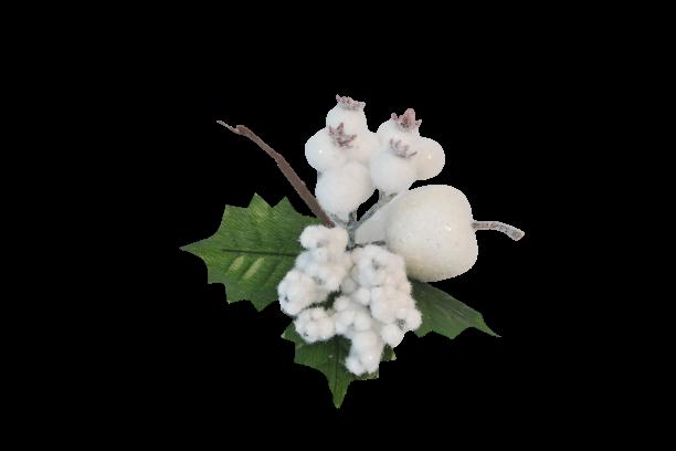 Pik dekoracyjny białe owoce omszały 17 cm - BXT60