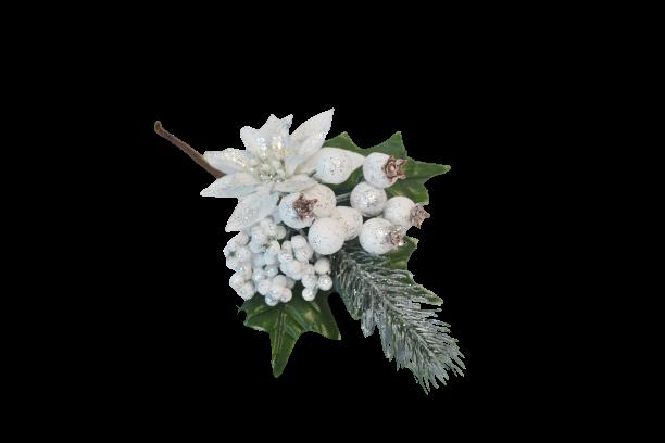 Pik dekoracyjny białe owoce poinsecja posrebrzany 21 cm