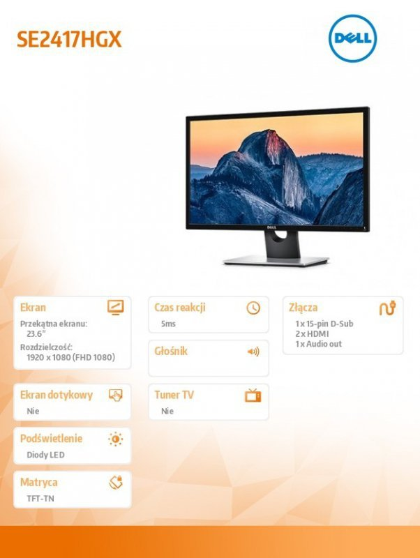 Dell Monitor SE2417HGX 24 LED 1920x1080/HDMI/VGA