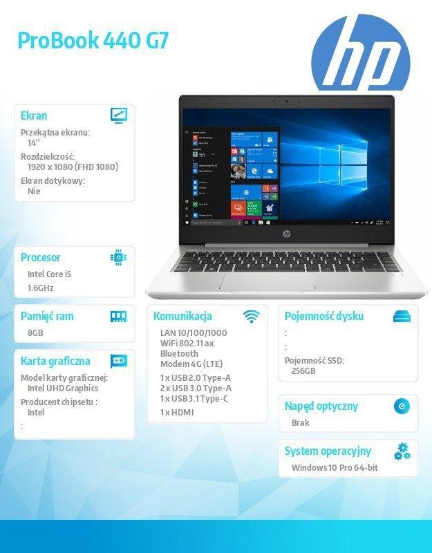 HP Inc. Notebook ProBook 440 G7 i5-10210U 256/8G/W10P/14   9HQ80EA