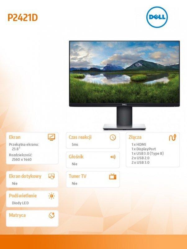 Dell Monitor  P2421D 23.8 cala IPS LED QHD (2560x1440) /16:9/HDMI(1.4)/DP(1.2)/5xUSB 3.0/3Y PPG