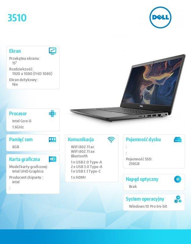 "Dell Notebook Latitude 3510 Win10Pro i7-10510U/256GB/8GB/UHD620/15.6""FHD/KB-Backlit/4 cell/3Y BWOS"